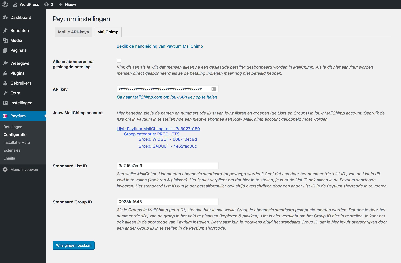 MailChimp koppeling voor Paytium, de iDEAL plugin voor WordPress